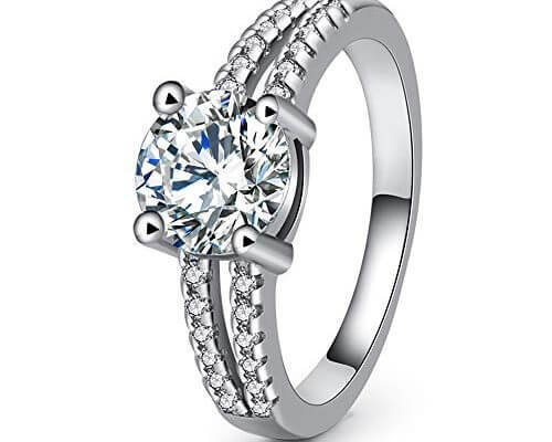 GerTong 1 PCS Silver Women's Ring Round Crystals Solitaire P...