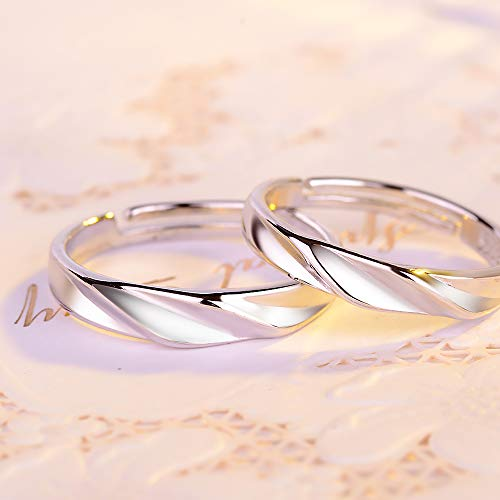 GerTong 1 Pair Couple Opening Ring Stylish Shinning Silver Z... 2