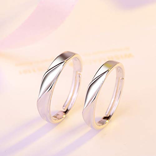 GerTong 1 Pair Couple Opening Ring Stylish Shinning Silver Z... 1