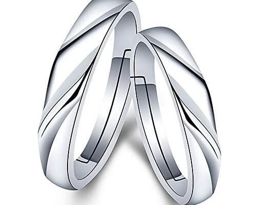 GerTong 1 Pair Couple Opening Ring Stylish Shinning Silver Z...