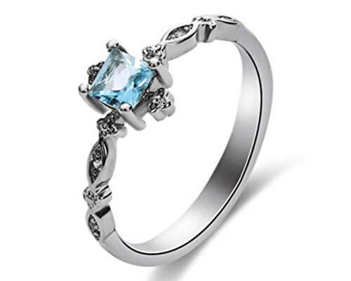 GerTong 1 PCS Luxury Women's Ring Elegant Blue Zircon Diamon...