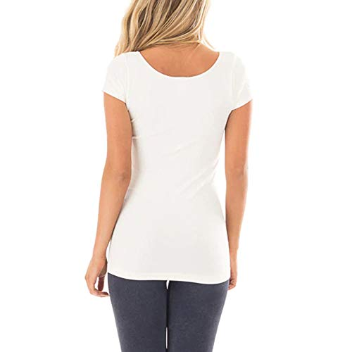 TWGONE Tunic Shirts For Women Short Sleeve Solid Causal Blou... 4