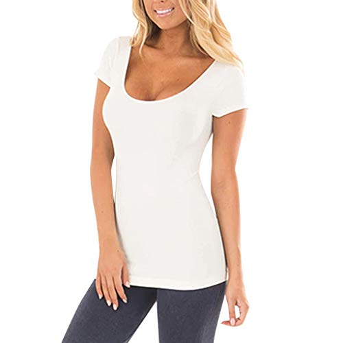 TWGONE Tunic Shirts For Women Short Sleeve Solid Causal Blou... 2
