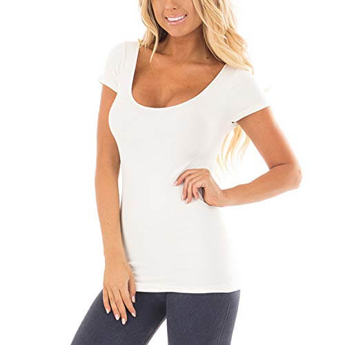 TWGONE Tunic Shirts For Women Short Sleeve Solid Causal Blou... 1
