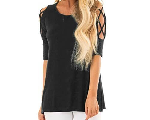 TWGONE Cold Shoulder Tops For Women Tunic O-Neck Pure Color ...